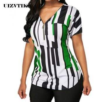 Women T-Shirt Summer Casual Sexy V Neck Zipper blusas poleras mujer de moda 2020 Vintage Plus Size Slim Striped Womens Tops 5XL
