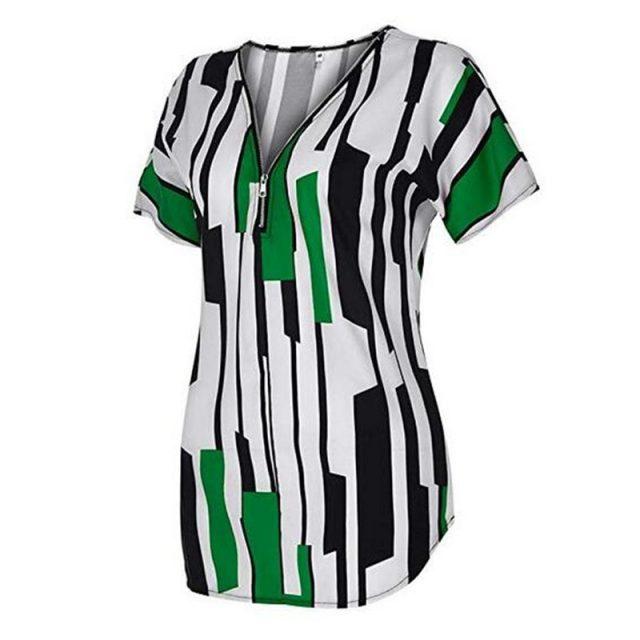Women T-Shirt Summer Casual Sexy V Neck Zipper blusas poleras mujer de moda 2020 Vintage Plus Size Slim Striped Womens Tops 5XL