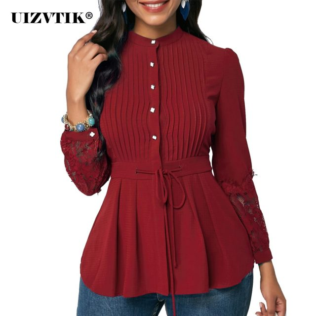 Women's Blouse And Shirt Spring Sexy Hollow Out Lace Long Sleeve Office blusas mujer de moda 2020 Vintage Plus Size Slim Tops