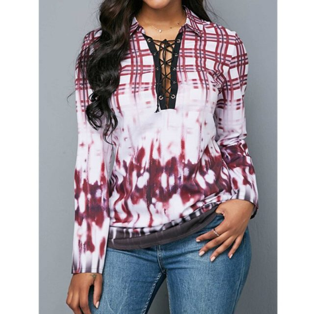 Women's Blouse And Shirt Autumn Sexy Hollow Out Bandage Long Sleeve Plaid blusas mujer de moda 2020 Vintage Plus Size Slim Tops