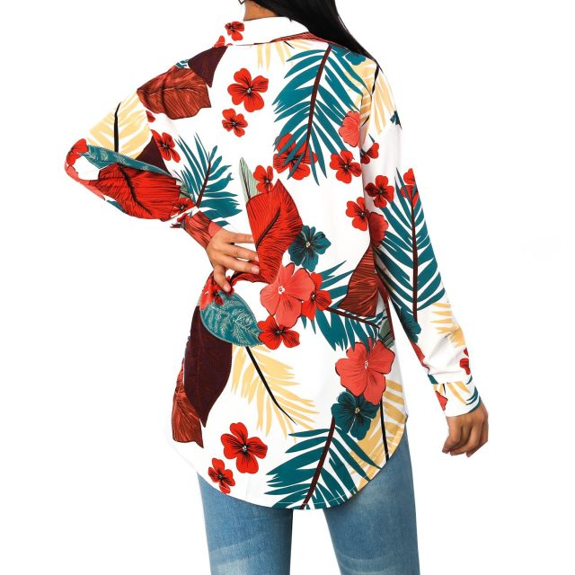 Women Blouses Summer Chiffon Long Sleeve blusas mujer de moda 2020 Sexy Vintage Floral Print Single-breasted Shirt Autumn Tops