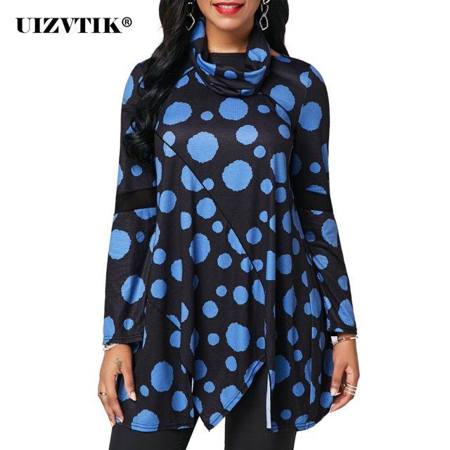 Women T-Shirt Spring Casual Irregular Long blusas poleras mujer de moda 2020 Vintage Plus Size Loose Patchwork Print Womens Tops