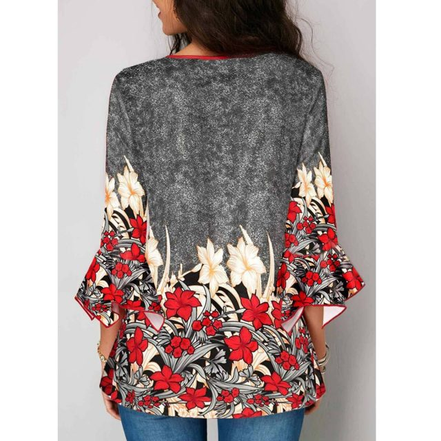 Women's Blouse And Shirt Spring Summer Sexy V Neck Floral Print Cotton blusas mujer de moda 2020 Vintage Plus Size Tops harajuku