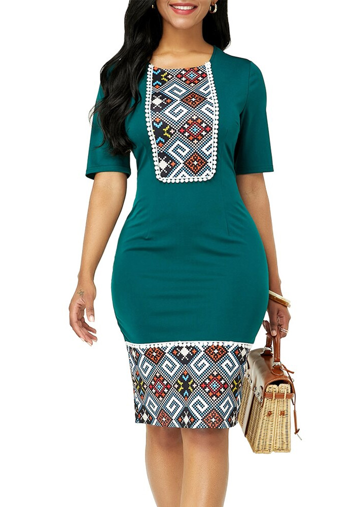 Summer Dress Women 2020 Casual Plus Size Slim Ethnic Print Office Pencil Bodycon Dresses Vintage Sexy India Women Party Dress
