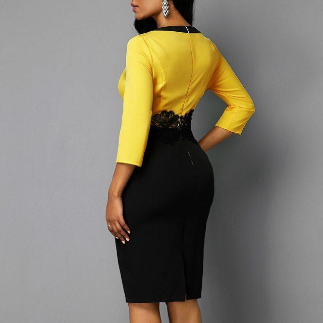 Patchwork Black Lace Dress Women Autumn Summer 2020 Casual Plus Size Slim Office Bodycon Dresses Vintage Sexy Split Party Dress