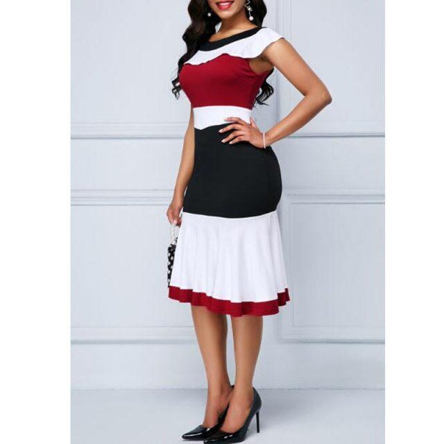 Patchwork Summer Dress Women 2020 Casual Plus Size Slim Ruffles Office A Line Dresses Elegant Vintage Sexy Long Party Dress 5XL