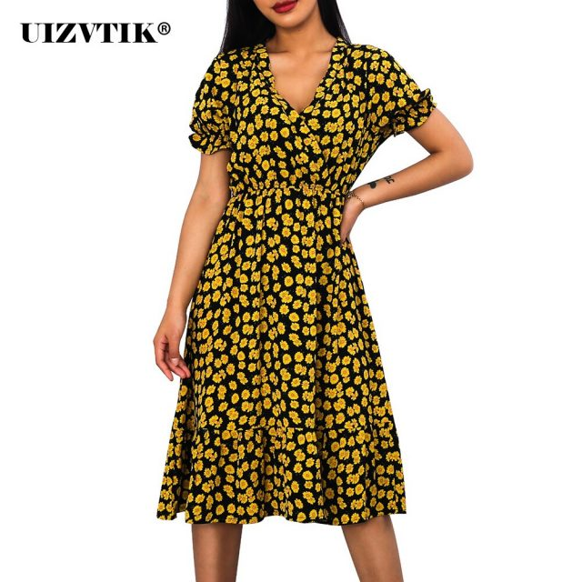 Woman Dress Casual V Neck Chiffon Boho Beach Long Summer Dress Women robes 2020 Vintage Sexy Slim Yellow Floral Party vestidos