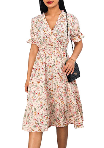 Woman Dress Casual V Neck Chiffon Boho Beach Long Summer Dress Women robes 2020 Vintage Sexy Slim Ruffles Floral Party vestidos