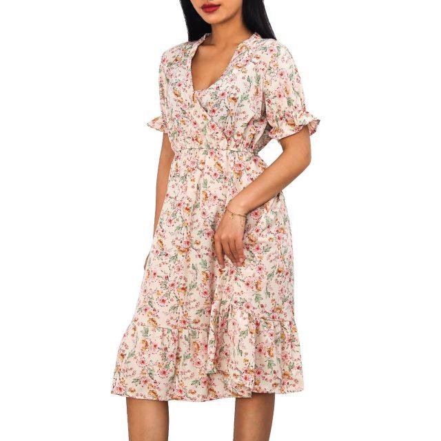 Woman Dress Casual V Neck Chiffon Boho Beach Long Summer Dress Women robes 2020 Vintage Sexy Slim Ruffles Floral Party vestidos