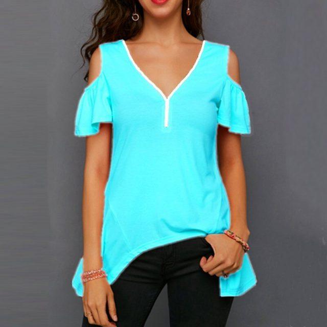 Women T-Shirt Summer Casual Plus Size Slim Irregular Long blusas poleras mujer de moda 2020 Vintage Sexy Off Shoulder Women Tops