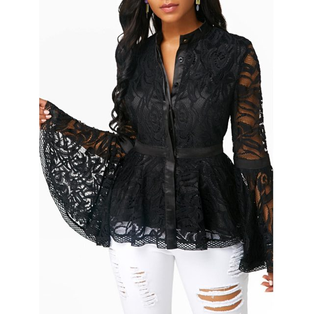 Women's Blouse And Shirt Spring Summer Sexy Hollow Out Black Lace Office blusas mujer de moda 2020 Slim Vintage Plus Size Top