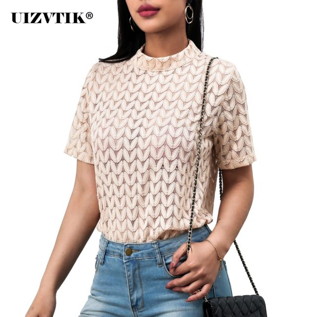Women Blouses Summer Korean Hook Flower Lace blusas mujer de moda 2020 Sexy Vintage Casual Hollow Out Short Sleeve Shirt Tops