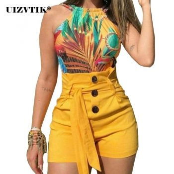 Womens Shorts Summer 2020 Elegant Sexy Ladies High Waist Solid Shorts Casual Plus Size Bandage Button Bohemia short feminino