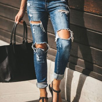 Hole Ripped Jeans for Women Distressed Slim Stretch  Skinny Jeans Womens Clothing Sweetwear Moustache Effect Vintage Denim pant