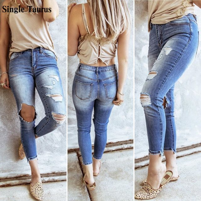 2020 Autumn Vintage Jeans Women Hole Hollow Out Bleached Cotton Blue Denim Pants Mujer Elasticity Skinny Push Up Pencil Pants