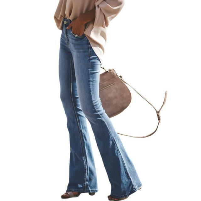 Mid Waist Jeans Women Causal Pantalon Patte Elephant 2020 Flare Denim Pants Mujer Streetwear black blue Vintage Mon Jeans Femme
