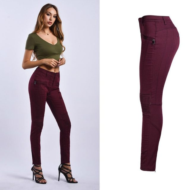 Super Moto Biker Skinny Jeans Women Fashion Wine Red Zippers Fly Denim Pants Mujer Slim Elasticity Streetwear Vaqueros Mujer