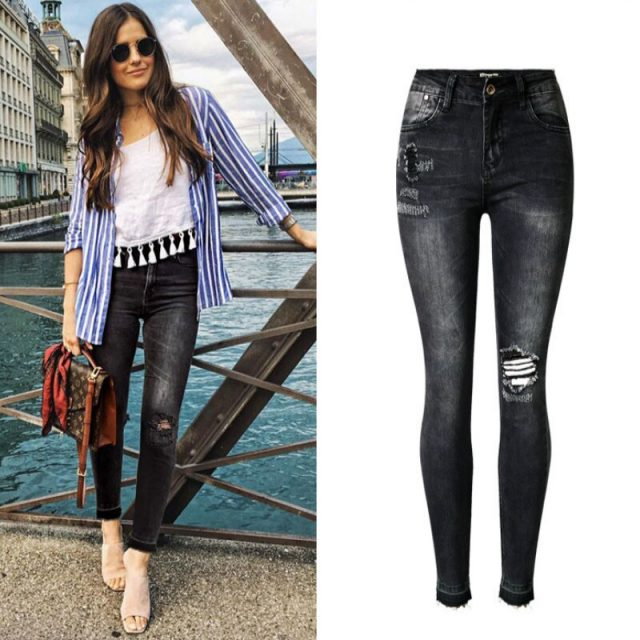 Dark Grey Vintage Pleated Ripped Jeans Women Europe & America Bleached Push Up Skinny Jeans Femme Ankle-length Pantalones Mujer