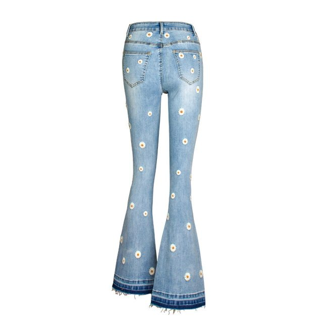 Streetwear Bellbottom Jeans for Women Fashion Blue Jeans Wide Leg Denim Pants Vintage Bleached Embroidery Bootcut Flare Jean