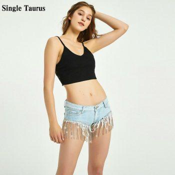Super Mini Sexy Night Club Jeans Shorts Women Summer Diamond Chain Tassel Denim Panties Low Waist Beach Mini Spandex Shorts