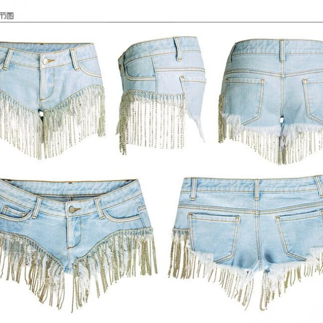Super Mini Sexy Night Club Jeans Shorts Women Summer Diamond Chain Tassel Denim Panties Low Waist Beach Mini Spandex Shorts