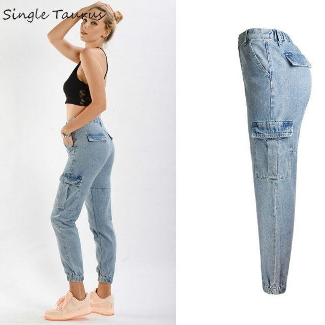 High Waist Cargo Pants for Woman Preppy Style Harem Pants Mujer Little Blue Loost Denim Spodnie Damskie Side Pocket Jeans Mujer