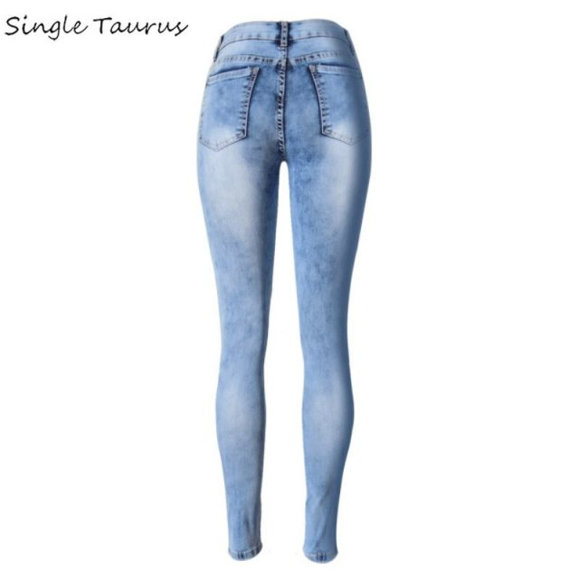 2020 Spring Washed Bleached Skinny Jeans Elasticity Slim Denim Pants Pantalon Femme Vintage Hole Blue Ripped Jeans for Mujer
