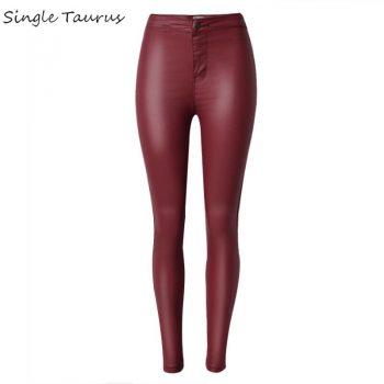 2020 High Waist Leather Pants Women Fashion Push Up Skinny Coated Denim Woman PU Pantalon Femme Red Black Pencil Pants Trousers