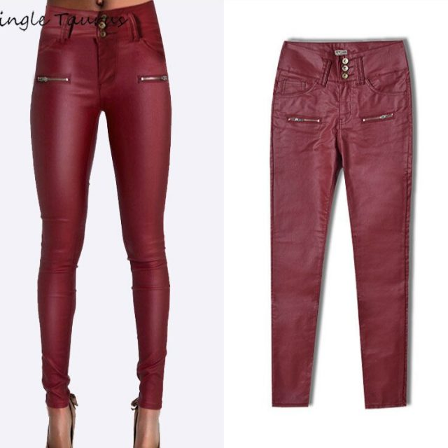High Waist Red PU Pants Women Elasticity Slim Push Up Skinny Jeans Woman Streetwear England Sexy Lady Twotwinstyle Leather Pants