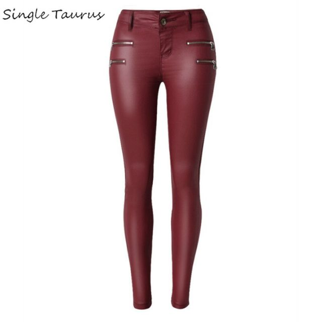 Low Waist PU Leather Pants Women Double Zipper Skinny Jeans Femme High Stretch Push Up Pants Feminino Wine Red Pantalon Femme