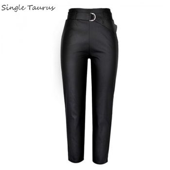 Black Leather Pants Women Streetwear PU Ropa Mujer High Waist Coated Denim Pantalon Femme Sexy Fall Winter Fashion Leather Pants