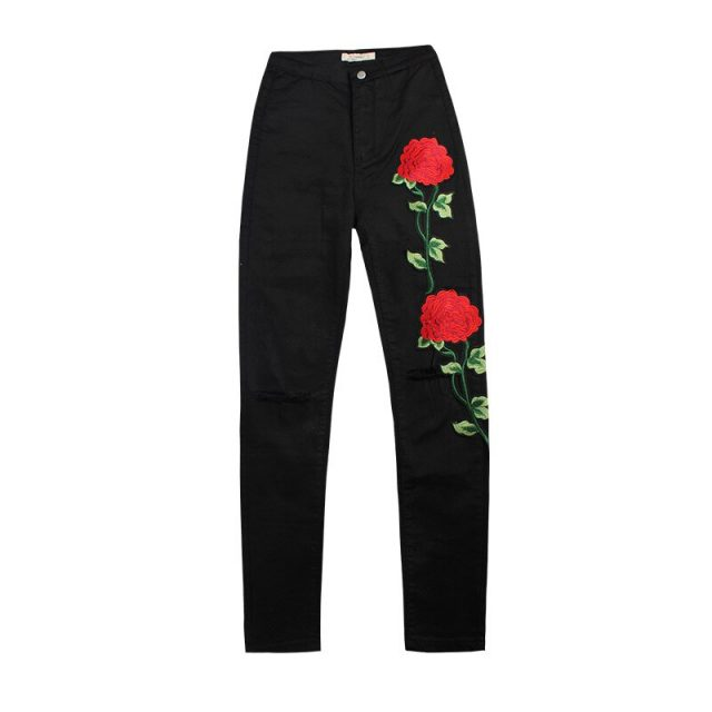 Embroidery Black Jeans Women High Waist England Style Streetwear Denim Pencil Pants Mujer Push Up Skinny Ladies Vaqueros Mujer
