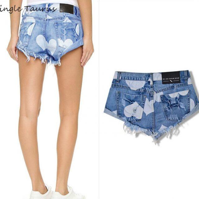 2019 Summer Top Waist Jeans Shorts Women Heart-shaped Printing Blue Cross-jeans Shorts Femme Tassel Vintage Denim Short Feminino