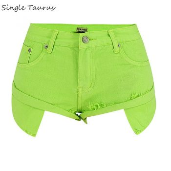 Mustard Green Jeans Shorts Women Streetwear Loose Sexy Travel Vacation Cross Denim Shorts Low Waist 2020 Summer Spodenki Damskie