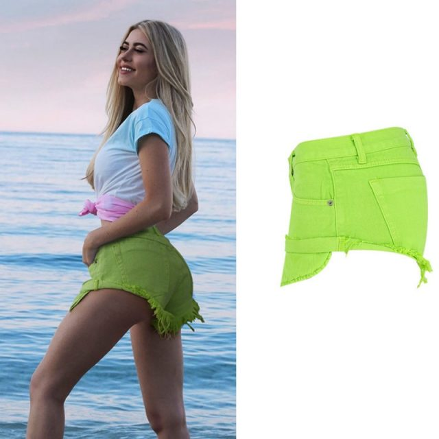Mustard Green Jeans Shorts Women Streetwear Loose Sexy Travel Vacation Cross Denim Shorts Low Waist 2020 Summer Spodenki Damskie
