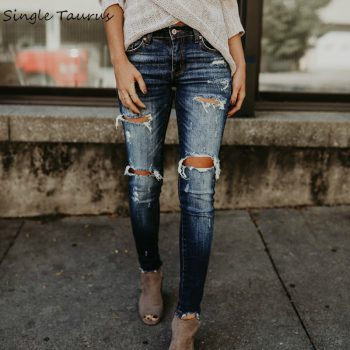 2020 Spring Fashion Bleached Ripped Jeans Women Cotton Denim Slim Elasticity Skinny Pants Moustache Effect Vintage Jeans Femme