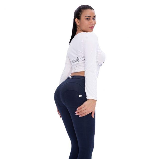 Women's Sports Leggings Skinny Navy Exercise Leggings Workout Sports Leggings Shapewear Compression