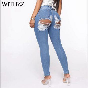 Hole Denim PantsTrousers Buttocks Torn Pencil Pants Women's Ripped Elasticity Jeans