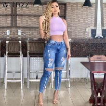 WITHZZ Spring Autumn Sexy Hole Denim Pants Middle Waist  Trousers Torn Pencil Pants Women's Ripped Jeans