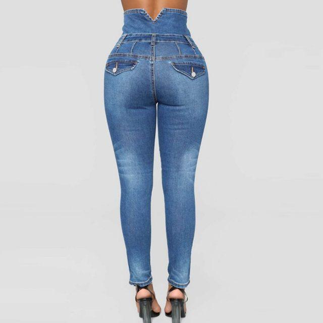 Womens Jeans High Waist Skinny Pants Regular Elastic Waist Pencil Pants Casual Plus Size Jeans For Women Cowboy Trousers#g30