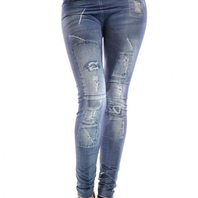 Girls fashion New Stylish Gray Faux Jean Denim Like Women Leggings Pants PR Sale