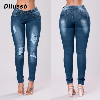 2020 Newest Hot Womens Stretch Skinny Ripped Hole Washed Denim Jeans Female Slim Jeggings High Waist Pencil Pants Trousers#D3