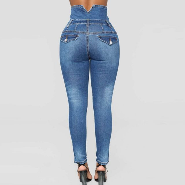 Women's High Waisted jeans Elasticity Skinny Pants Jeans All-match Pencil Long Trouse  Cowboy Denim Pants Vaqueros Mujer джинсы
