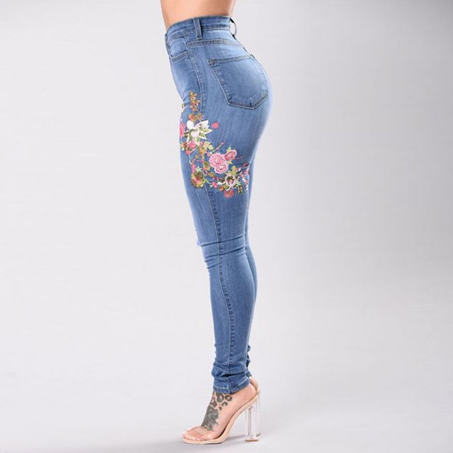 New High Waist Denim Pants Women Embroidered Flower Ripped Jeans Female Skinny Slim Stretchy Jeans Casual Jy4
