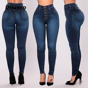 Women High Waisted Skinny Denim Jeans Stretch Slim Pants Calf Length Jeans Sexy Solid Blue Female Casual Daily Jeans