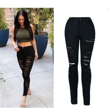2019 NEW Fashion Personality street fashion full strips torn Slim stretch high waist denim pants pants large size C0795