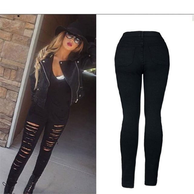 2019 NEW Fashion Personality street fashion full strips torn Slim stretch high waist denim pants pants large size C0795