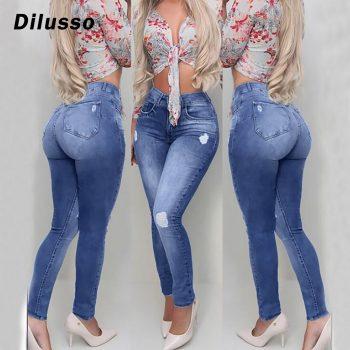Fashion Women Hole Button Pocket Jeans High Waist Denim Pants Skinny Slim Jeans Slim Elasticity Female 2020 Hot Sell Jeans#D3