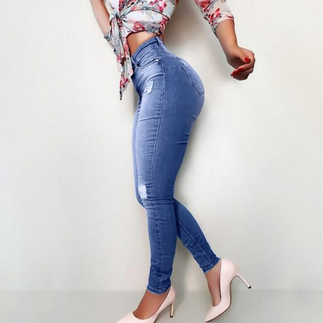 Fashion Women Hole Button Pocket Jeans High Waist Denim Pants Skinny Slim Jeans Slim Elasticity Female 2020 Hot Sell Jeans#D3