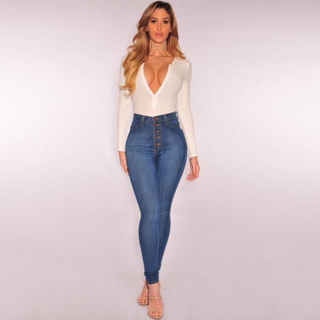 Jeans Women Mom Jeans High Waist Jeans Woman High Elastic Plus Size Stretch Jeans Female Washed Denim Skinny Pencil Pants#J30